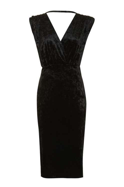 Black velvet bodycon midi dress with sleeves angeles jacket