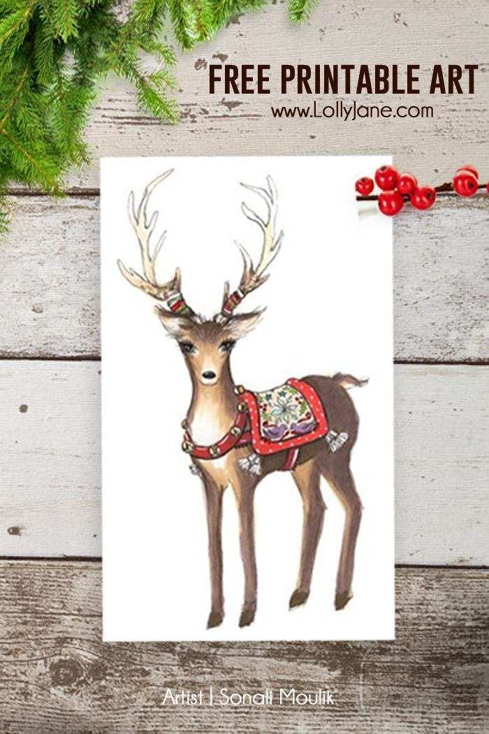 FREE Printable Reindeer Christmas Art via LollyJane.com by Sonali Moulik
