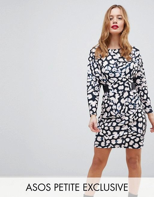 ASOS PETITE Mini Dress with Elastic Waist Detail In Leopard Print