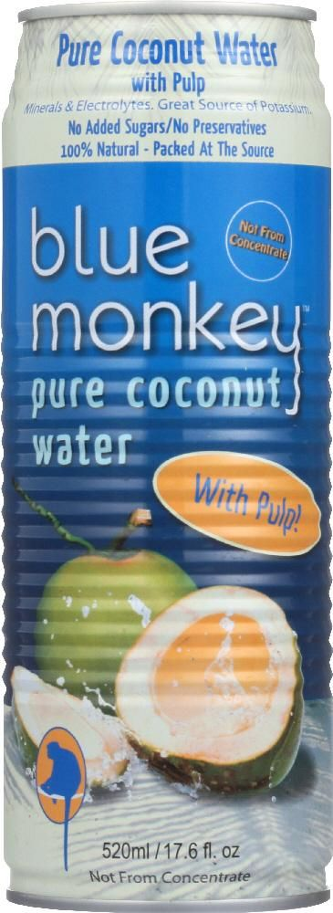 BLUE MONKEY: 100% Natural Pure Coconut Water with Pulp, 17.6 oz