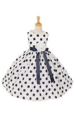 Summer-Polka-Dot-Flower-Girl-Dress-Pageant-Birthday-Wedding-Jr-Bridesmaid-Floral