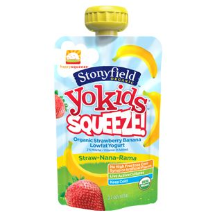 Our new YoKids Straw-Nana-Rama lowfat organic yogurt pouches are now available in the dairy aisle.