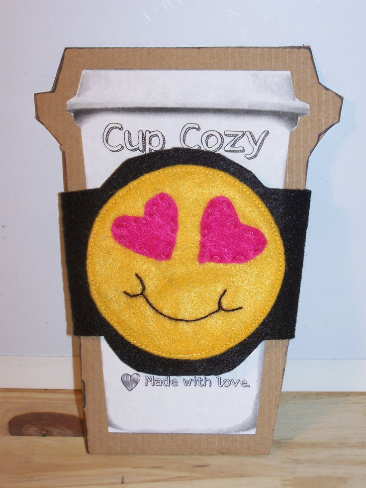 Smiley Face Emoji with Heart Eyes Cup Cozy