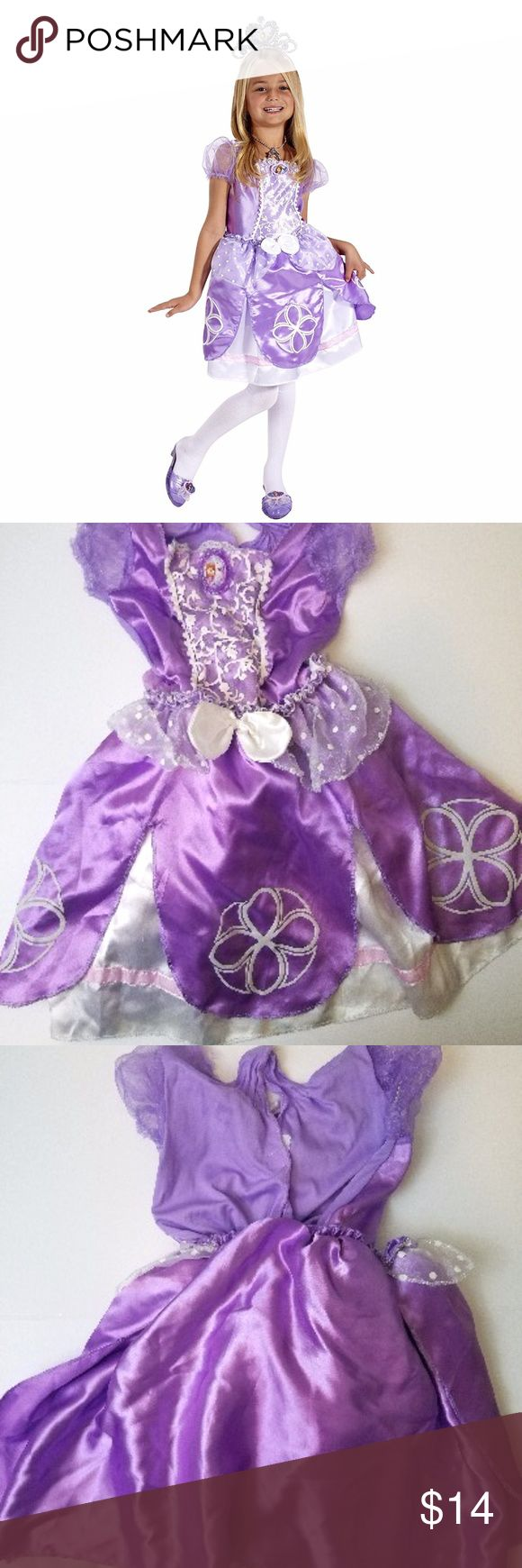 🎃Ships Today! Sm.Disney's Sofia the First Costume DOES NOT INCLUDE ACCESSORIES. PICS 2 THROUGH 4 SHOW ACTUAL ITEM. ***SIZE SMALL 4-6X*** Good gently used with 3 flaws as shown in pics (Loose hem and run at top back and tear in the dress...hidden when wearing poofy skirt over)  Look just like Sofia in this magical 2 in 1 Transforming Dress. The removable skirt allows girls to transform from ballgown to ballerina in one easy step to double the playtime fun! Its ruffled sleeves, satin details…