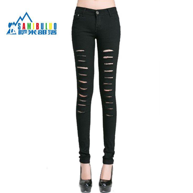 Women Jeans 2014 Hot Fashion Ladies Cotton Denim Ripped Punk Cut-out Women Sexy Denim Pants Black/White