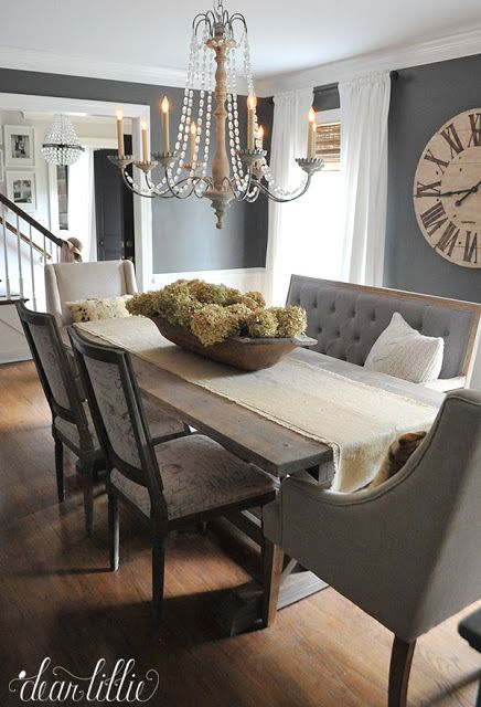 Big ClockUnexpected Seating Like This Bench From Help Add Character To Dark Gray Dining Room And Dried Hydrangeas A Soft Subtle Touch In