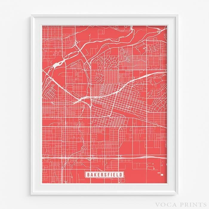 BAKERSFIELD, CALIFORNIA Street Map Wall Art Poster. Starting at $9.90 with 42 color choices at VocaPrints.com - #streetmap #map #homedecor #wallart #BAKERSFIELD #CALIFORNIA