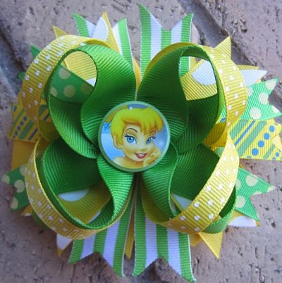 Tinkerbell Custom Boutique Disney Princess Hair Bow. $9.99, via Etsy.