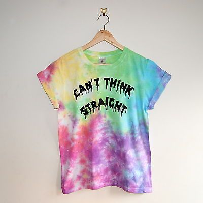 Details about Rainbow Tie-Dye 'Can't Think Straight' Hand Made Tumblr Gay Pride…