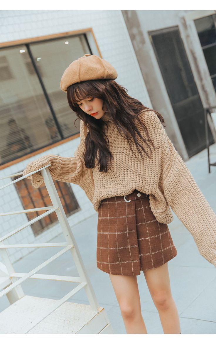 Woolen Plaid Harajuku Kawaii Retro Skirt Autumn and Winter