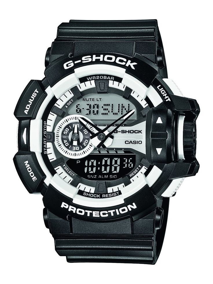Casio G Shock GA-400-1AER G-Shock Uhr Watch Montre Orologio. - Brand name: Casio Watch - Sex: Man - Thong in rubber, color black - polycarbonate housing color black - Dial color black - Machinery: Quartz - Functions: digital - water Resistant: 20 atm pressure'n - box Dimensions: 51 mlm - Garantí.