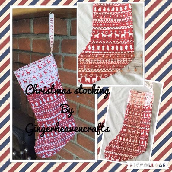 Great hand made Christmas stocking, this stocking can be personalised with a name, it is made from lovely 100% cotton red and white fabric, with a fun Christmas pattern, it is fully lined, and has been made with care and attention, It measure approximately 17 inches long by 9 inches wide and has a hanging loop. Will last for years to come and will be a treasured item to get out each Christmas. If you have any questions please feel free to ask.   I can make stockings larger or smaller and in…