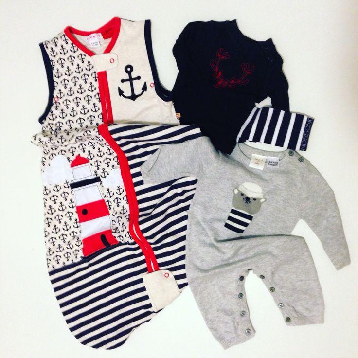 Baby flat lay, baby boy, nautical sleeping bag, moose head punk rocker, knitted bear onesie, seed heritage