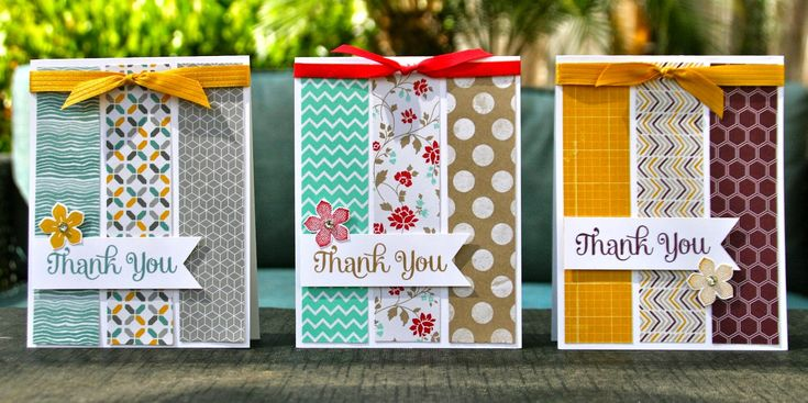 Love these 'Thank You' cards made with pretty paper strips - good use for scraps, could also use for birthdays etc.