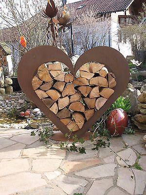 Coração de metal – prateleira de madeira – ferrugem precioso – terraço com jardim – deco – !!! IMENSO !!!