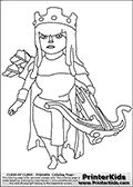 Coloring page with the Archer Queen character from the extremely popular Clash of Clans App. The Archer Queen is one of the most powerful troops in the game, it is an immortal unit that can be used to defend or attack with. Print and color this Clash of Clans page that is drawn by Loke Hansen (http://www.LokeHansen.com) based on a Clash of Clans iPhone 5 App screenshot or game promotion.