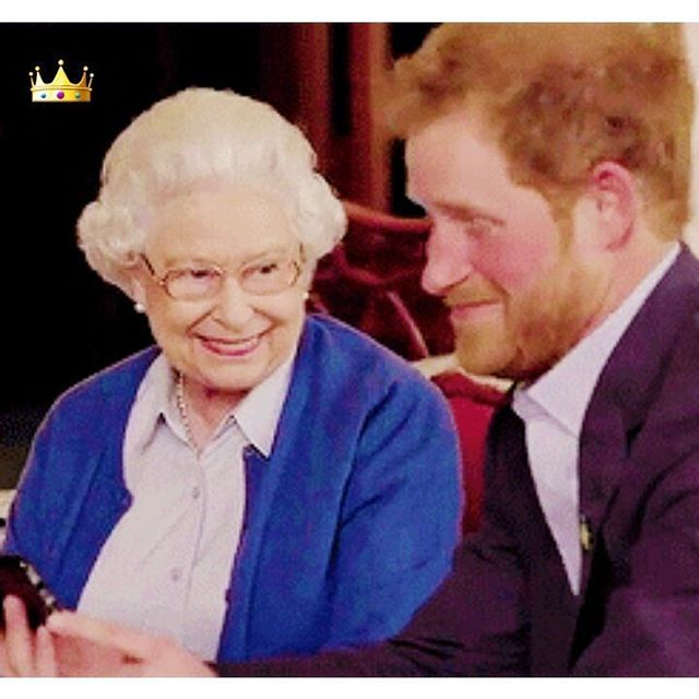 Queen Elizabeth II & Prince Harry for a compaign of the Invictus Games I love the way that Queen Elizabeth II looks her grandchild Prince Harry, I'd imagine with great joy, & pride & the Queen used to be quite playful - very much like Harry when she was younger, b4 the weight of the crown