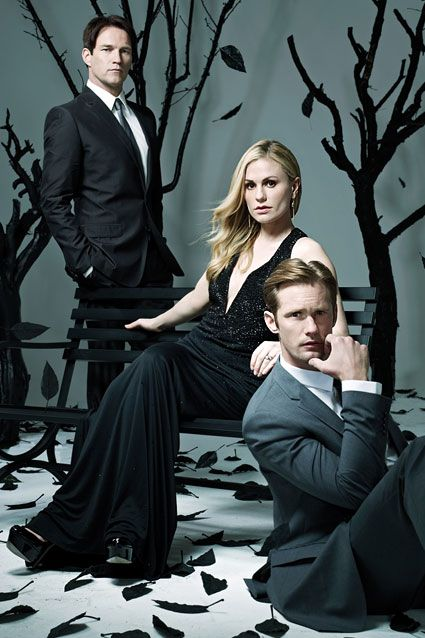 """True Blood stars Alexander Skarsgard, Anna Paquin and Stephen Moyer are featured in Emmy Magazine's annual For Your Consideration Issue and ETOnline has an exclusive sneak peek at their stunning photoshoot. In the issue, Paquin reveals that so much care went into casting the most compatible actors as Sookie and Bill, HBO inadvertently made a real-life love match! """"They did a chemistry read with the two of us before we were cast, and obviously, it went well,"""" she says of Moyer. They wed in…"""