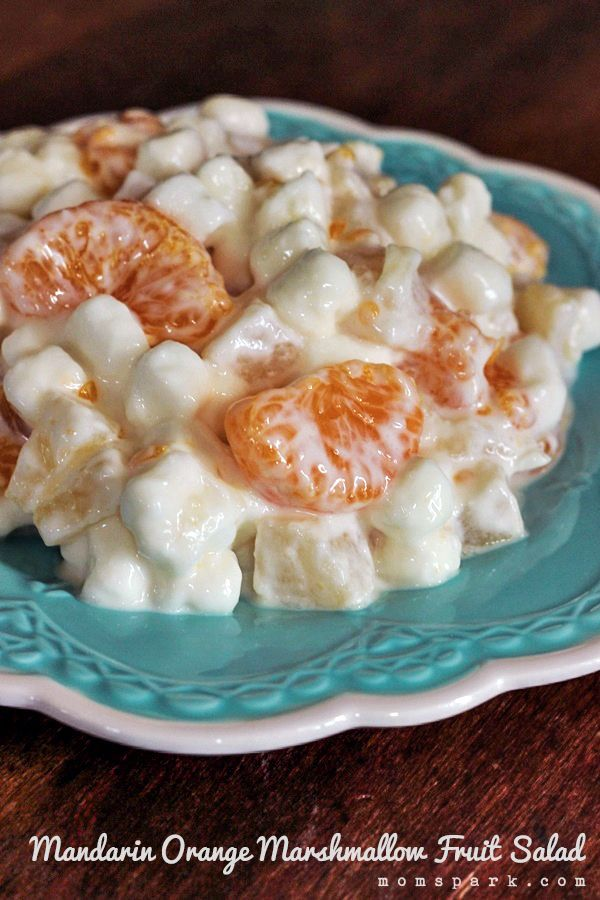 This recipe has a trio of fruits: mandarin oranges, pineapple and pear. Mix with that your favorite vanilla yogurt and marshmallows and let it get happy in the fridge for a few hours before serving.