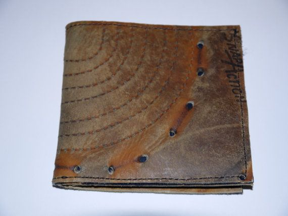Wallet made out of vintage hockey gloves #fathersday