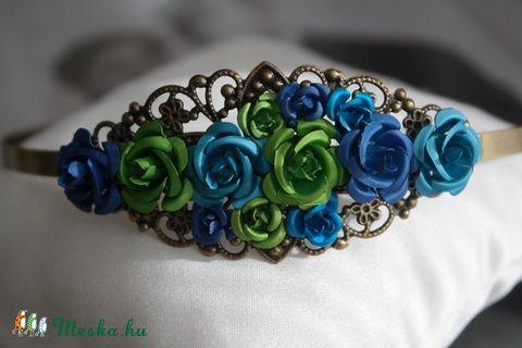 Meska - Kék-zöld virág hajpánt Aggies kézművestől