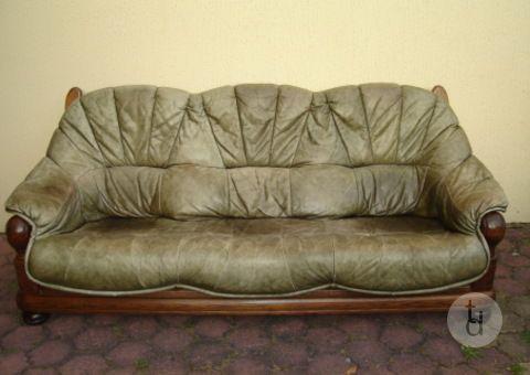 Donne Canapé cuir sauvage vert 3 places campagnard