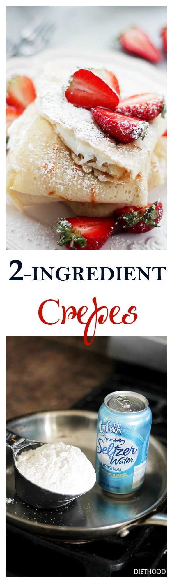 2-Ingredient Crepes {Macedonian-Style Crepes} - Fluffy, light and delicate Crepes made with just 2 ingredients, including all-purpose flour and carbonated water. Dairy-Free, Egg-Free, but definitely NOT taste-free! Get the recipe on diethood.com