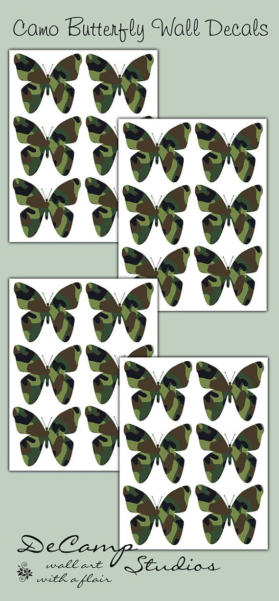 Green Camo Butterfly Wall Art Decals For Girls Bedroom And