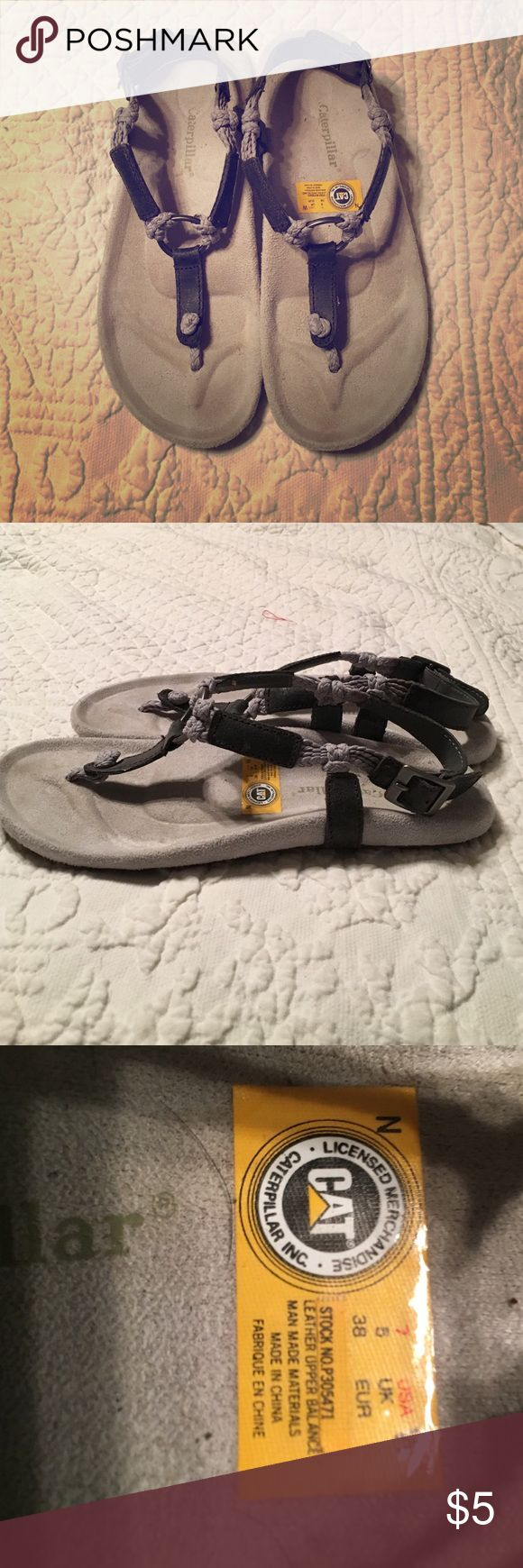 Women's gray sandals Women's gray sandals, leather and rope material, metal side buckle and center circle, only worn twice! Caterpillar Shoes Sandals
