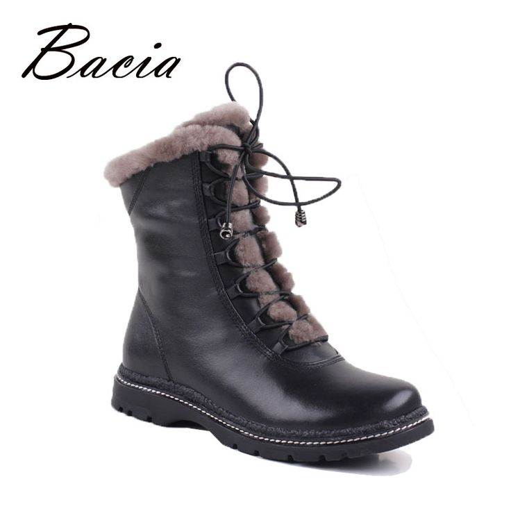 Find More Women's Boots Information about Bacia Winter Mid Culf  Warm Wool Fur Boots Genuine Full Grain Leather Long Plush…