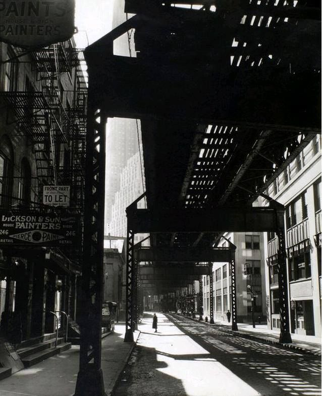 El 2nd 3rd avenue lines looking w from second pearl st berenice abbottvintage photographystreet photographymonochrome photographyblack white