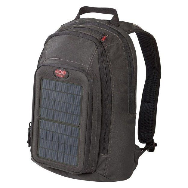 Use a solar-powered backpack to both carry your electronics and charge them. | http://bzfd.it/1kMDxyD