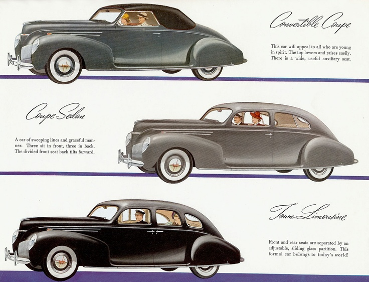 1939 lincoln zephyr convertible coupe coupe sedan and town limousine