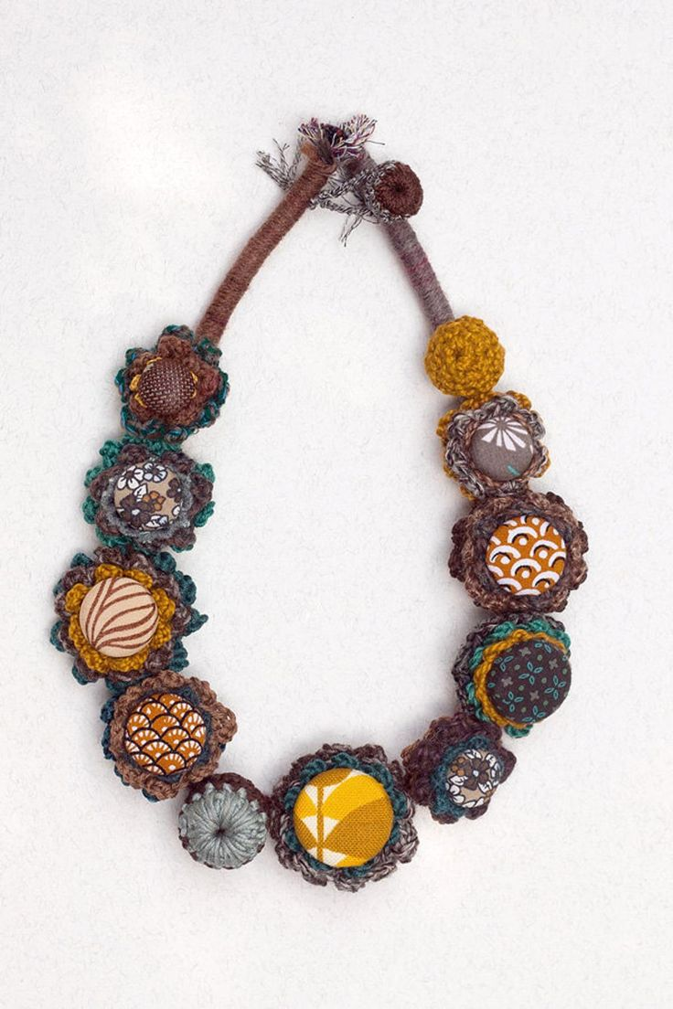 Fiber art necklace, statement eco friendly jewelry, crochet with fabric buttons – brown teal yellow – OOAK