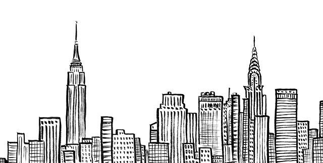 New York City Skyline, NYC, Empire State, Chrystler Building, ink, line art, Duo… – Macie Brown