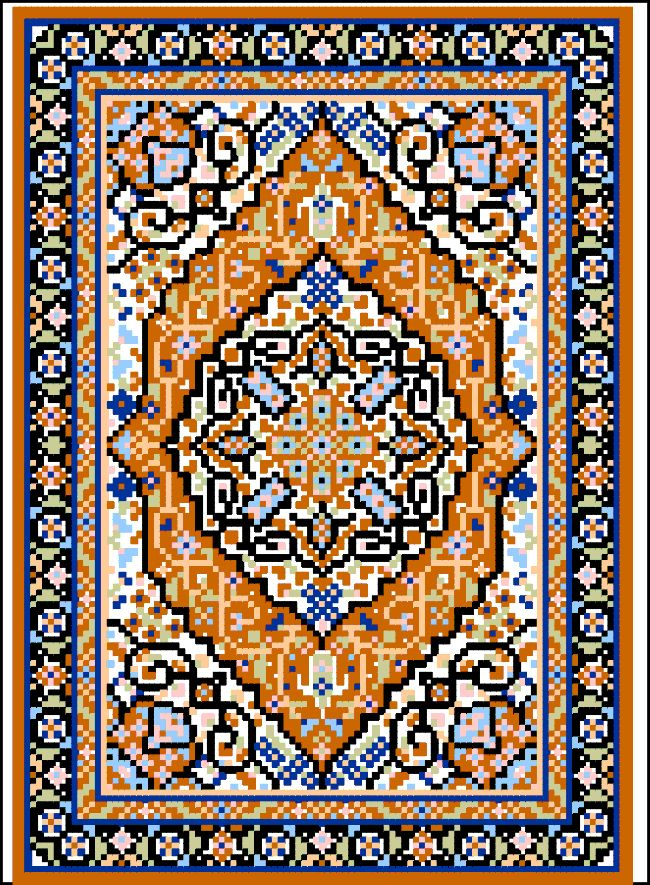 Tabriz Medallion Miniature Rug   Stitch on 18 ct. canvas/material
