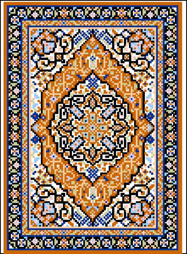 Tabriz Medallion Miniature Rug cross-stitch - free