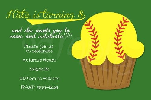 Softball invite / Birthday Card / Digital Image / Printable | 2cutepartyprints - Cards on ArtFire