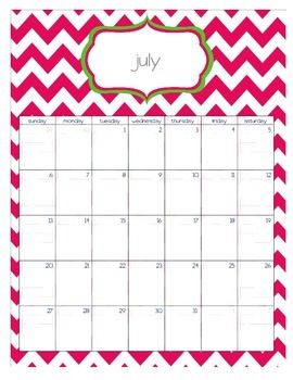 Teacher Chic SY 2014-2015 Calendar: Apple and Hot Pink