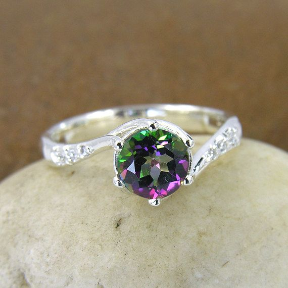 mystic topaz swarovski crystal ring in 925 sterling silver silver mystic green topaz engagement ring - Crystal Wedding Rings
