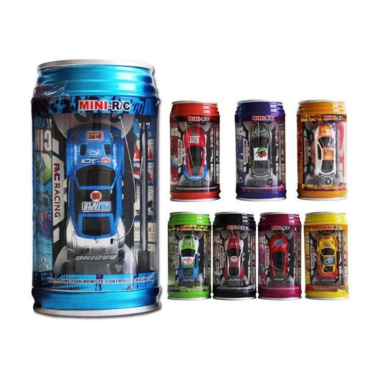 7 Colores Lata de coca cola de Radio de Coche del RC Coche de Control Remoto de Micro carreras de coches de juguete 4 unids carretera bloques kid toys regalos enviados al azar