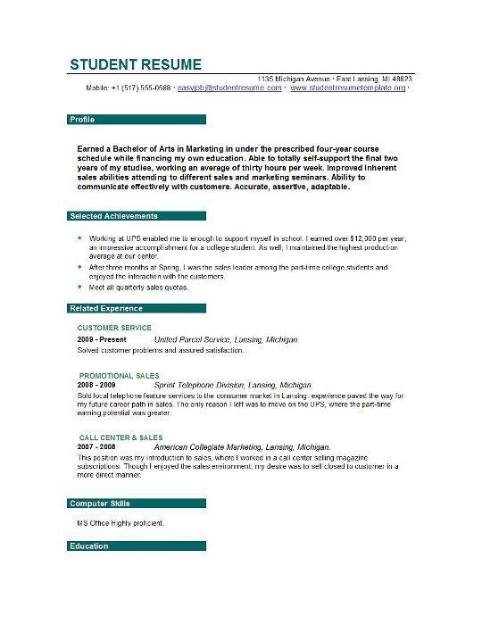 college student resume example sample httpwwwjobresumewebsite