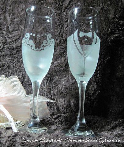 Frosted Bride and Groom Wedding Etched Flutes Toasting Glasses Gift Set