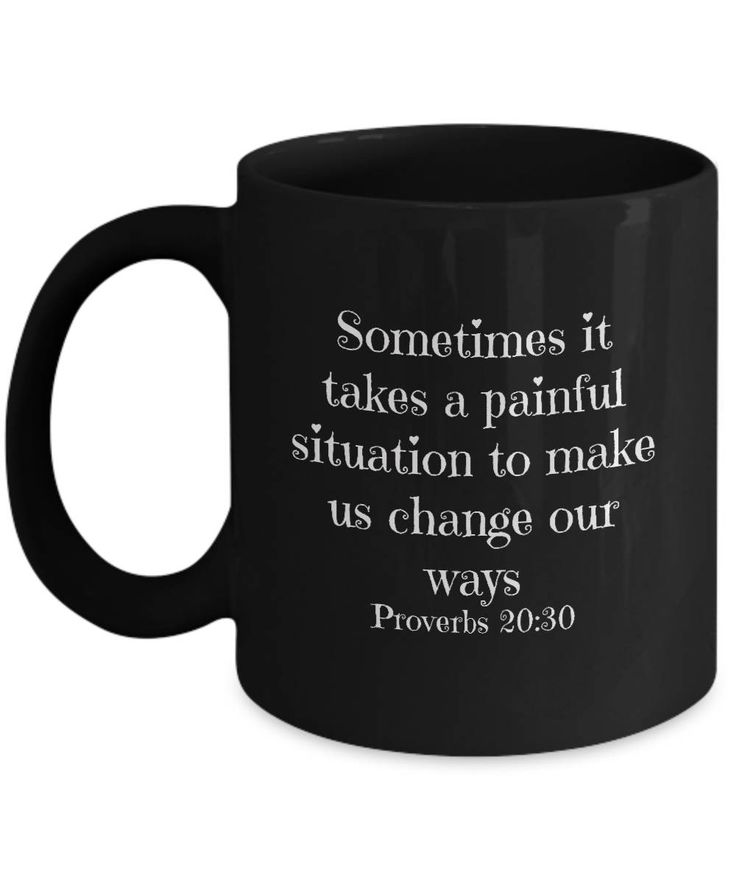 Excited to share the latest addition to my #etsy shop: Christian tips on how tough times don't last, Change our ways. Bible verse mug (Proverbs 20:30) Real life hack tips. Christian faith, hope http://etsy.me/2n9wb1z #housewares #black #divorce #white #newyears #christ