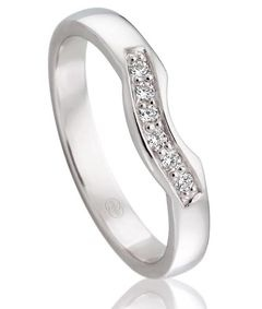 LADIES  WEDDING RING, 3mm WIDE , SET WITH 6 X .01PT BRILLIANT CUT DIAMONDS IN A CHANNEL SETTING