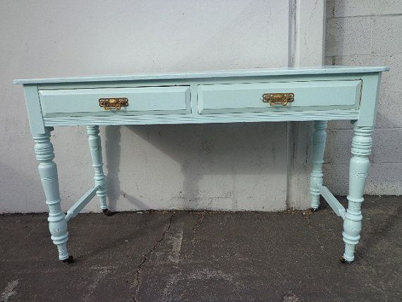 Antique Wood Vintage Desk Vanity Shabby Chic Painted Country French Computer Laptop Table Blue Boho Bohemian Regency Bedroom Cottage Chic