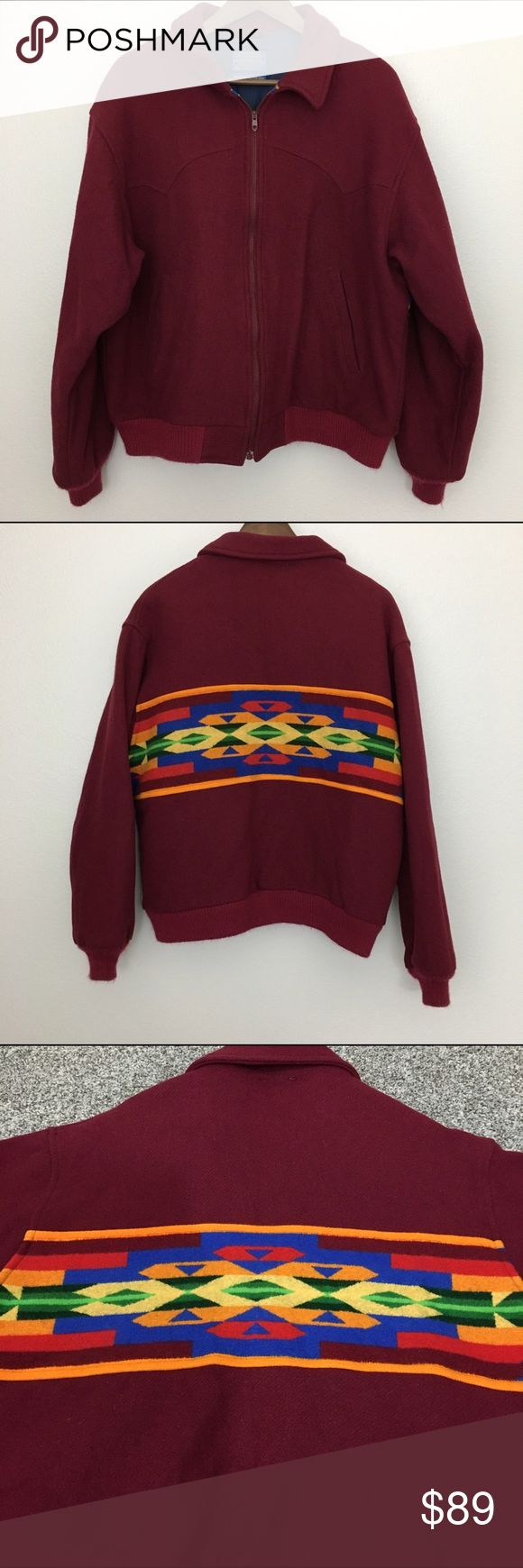 """Pendleton Bomber Jacket. Rare! Vintage! Burgundy L Pendleton bomber jacket. Rare! Vintage! High Grade Western Wear. Navajo design. Color is burgundy.  Made in USA. Fabric is 100% virgin wool. Formulated with 3M's Thinsulate Thermal Insulation. Dry clean only.  Size Large Armpit to armpit is 24"""" Length is 26"""" Approximate only.  Pre-owned in great condition.  Stored in a smoke and pet free household.  Please see pictures for details or asks any questions before buying to avoid return…"""