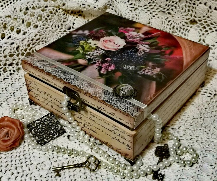 Virágcsokor, romantika, decoupage technika / flower bunch, romantic, antique, decoupage, box