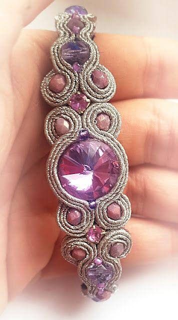 biżuteria soutache, haft koralikowy, torby z filcu: Bransoletki Swarovski