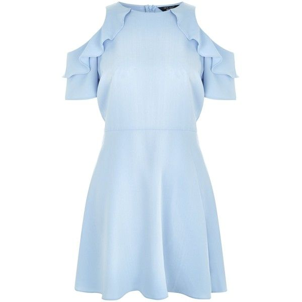 New Look Teens Pale Blue Cold Shoulder Frill Trim Skater Dress (£20) ❤ liked on Polyvore featuring dresses, vestidos, pale blue, party skater dresses, frilly dresses, party dresses, night out dresses and blue dress